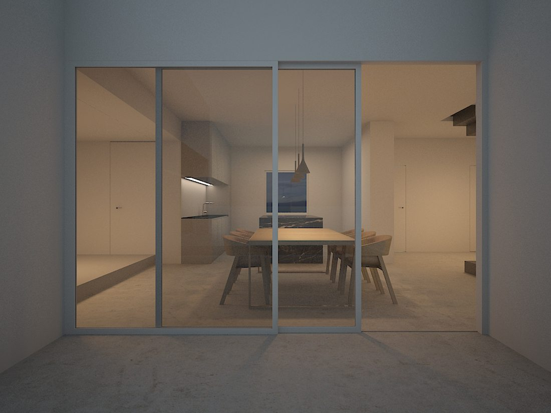 casa de los almendros-patio-cocina-minimalista