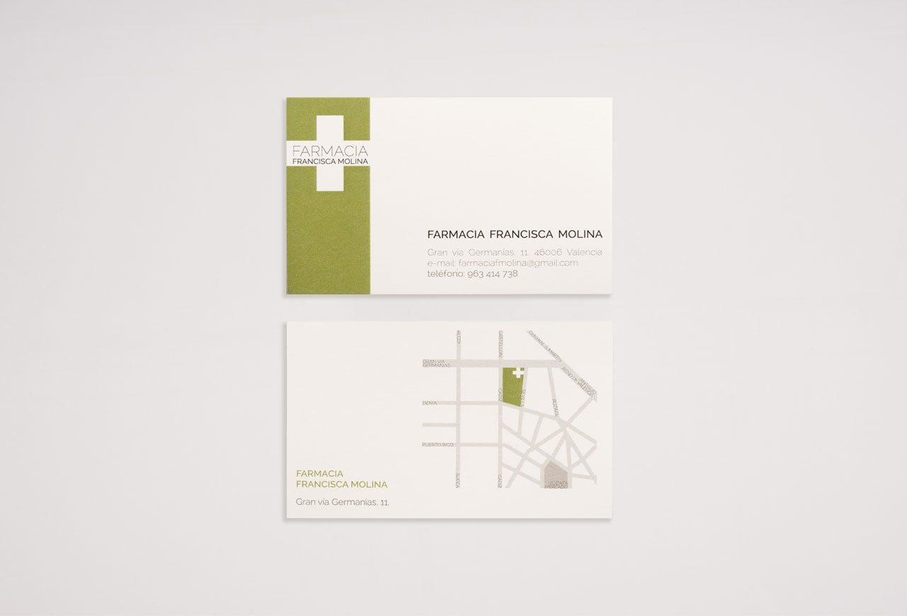 tarjetas de visita. farmacia fca. molina.