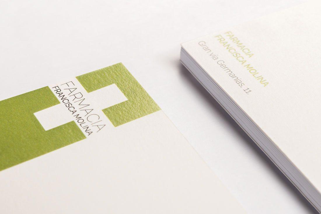 farmacia molina. diseño tarjetas