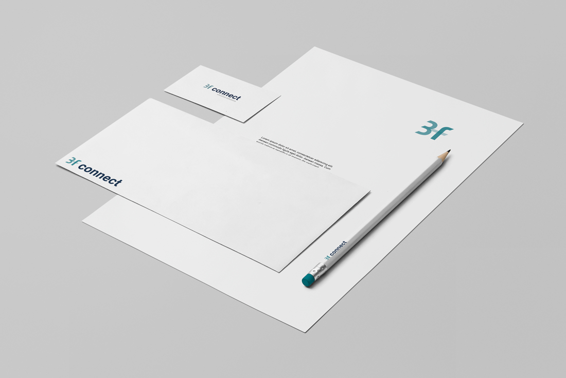 visual identity and branding 3f connect electric solutions paper sheet pencil