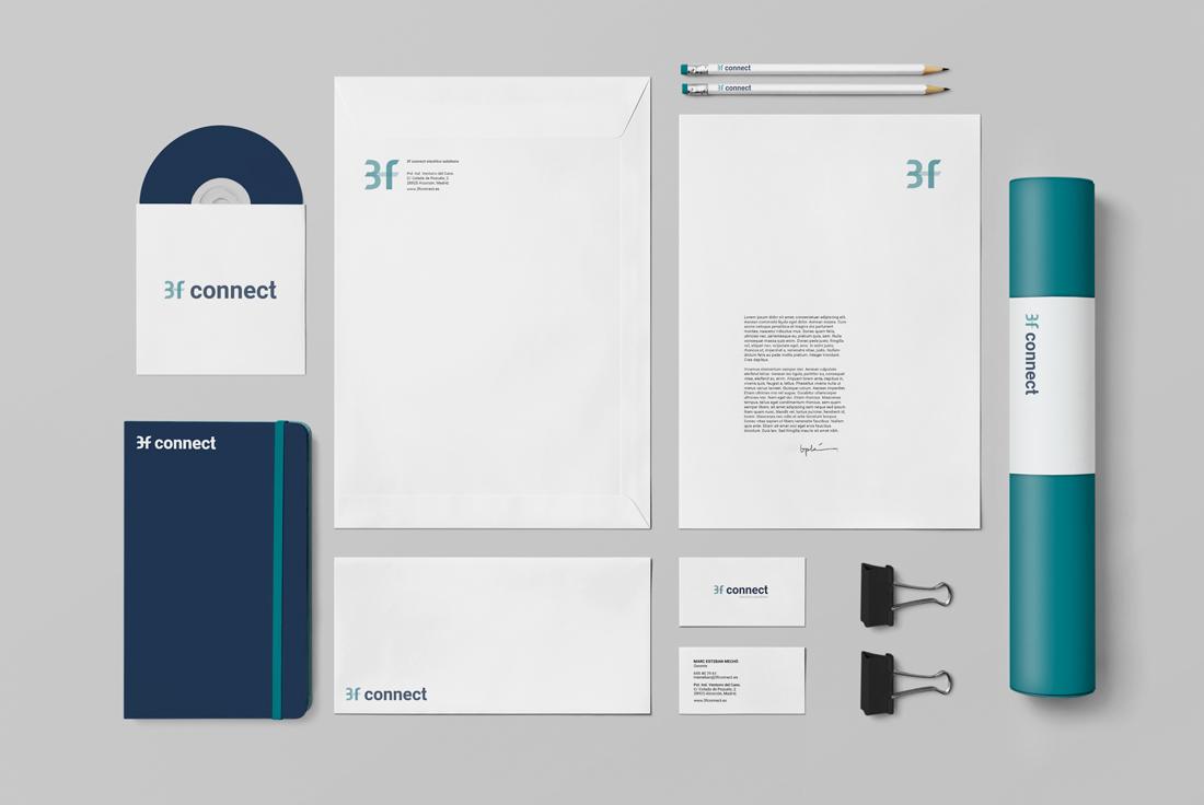 diseño de marca e identidad 3f connect electrics solutions papelería