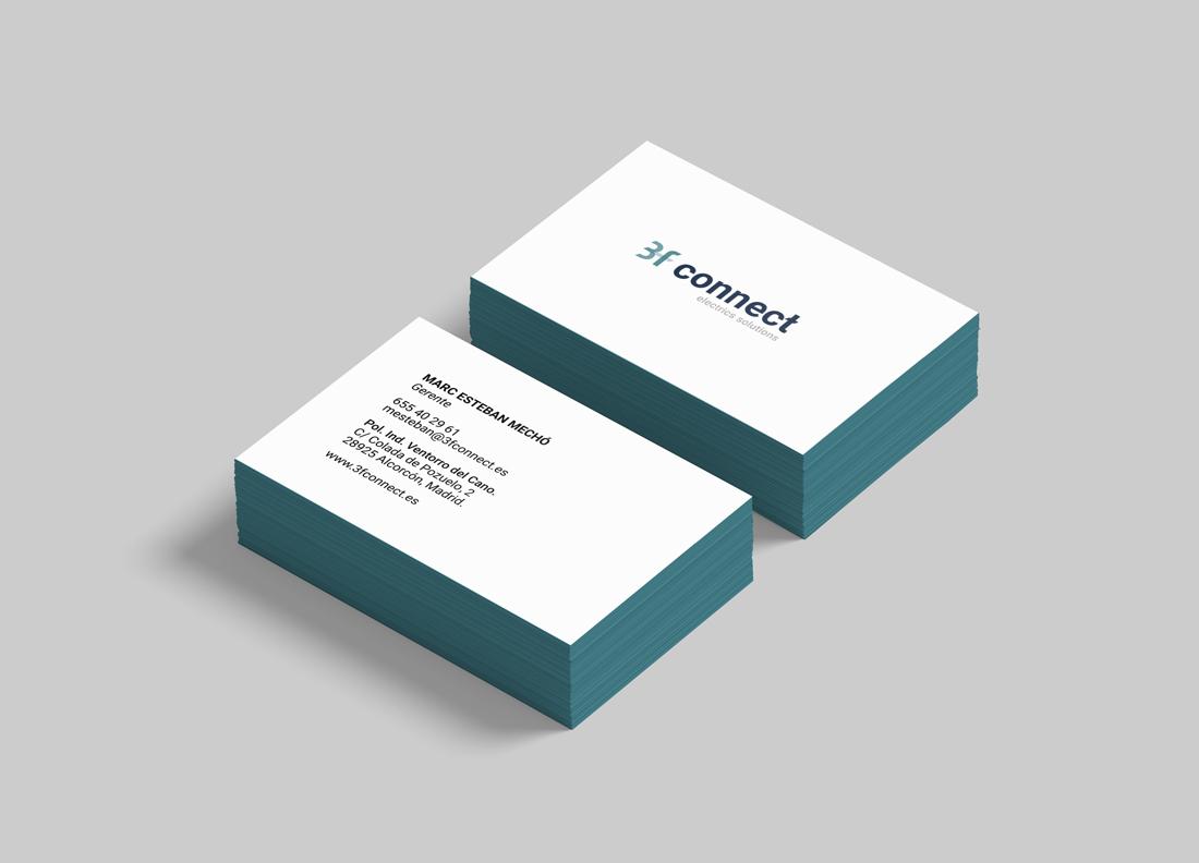diseño de marca e identidad 3f connect electrics solutions tarjeta de visita